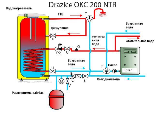 Схема подключения бойлера Drazice OKC 200 NTR