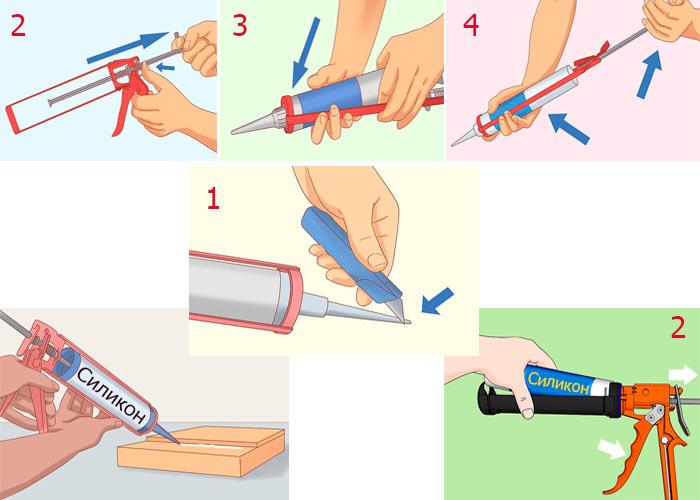 Фото схемы как вставить герметик в пистолет