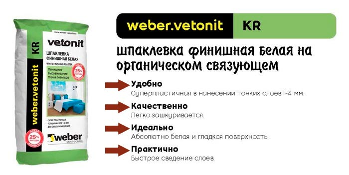 Шпаклевка финишная Vetonit KR